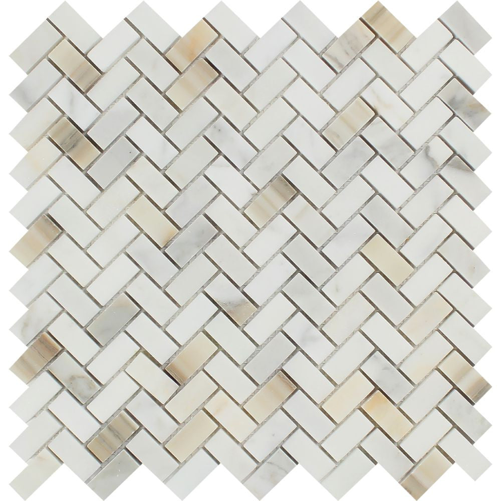 5/8 x 1 1/4 Polished Calacatta Gold Marble Mini Herringbone Mosaic Tile Sample - Tilephile