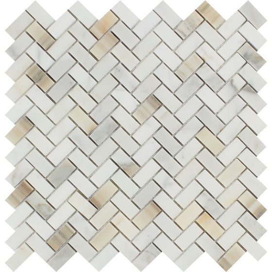 5/8 x 1 1/4 Polished Calacatta Gold Marble Mini Herringbone Mosaic Tile - Tilephile