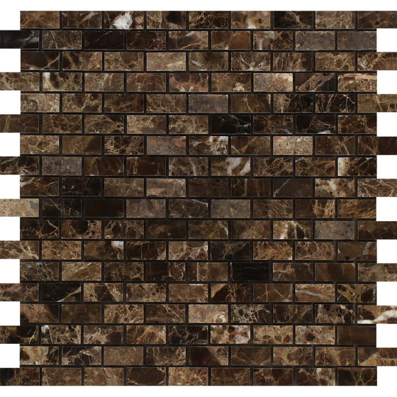 5/8 x 1 1/4 Polished Emperador Dark Marble Baby Brick Mosaic Tile - Tilephile
