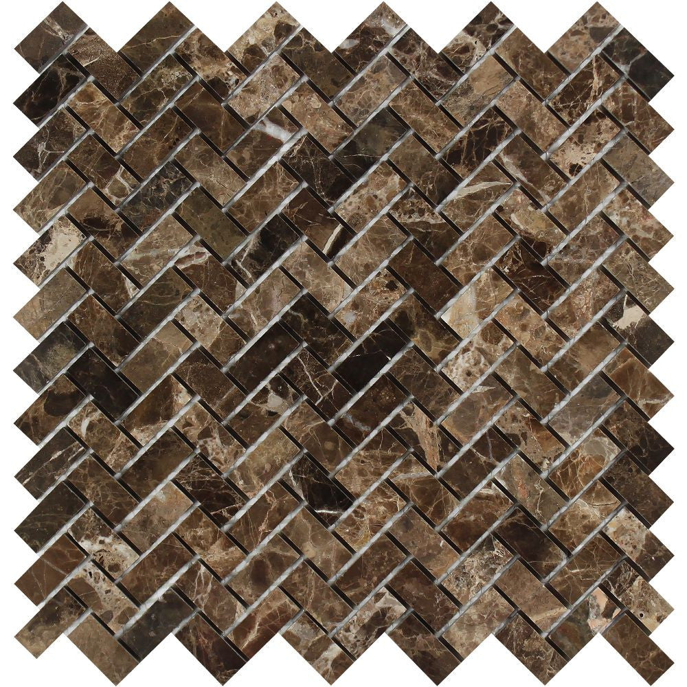 5/8 x 1 1/4 Polished Emperador Dark Marble Mini Herringbone Mosaic Tile - Tilephile