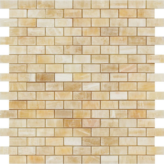 5/8 x 1 1/4 Polished Honey Onyx Baby Brick Mosaic Tile - Tilephile