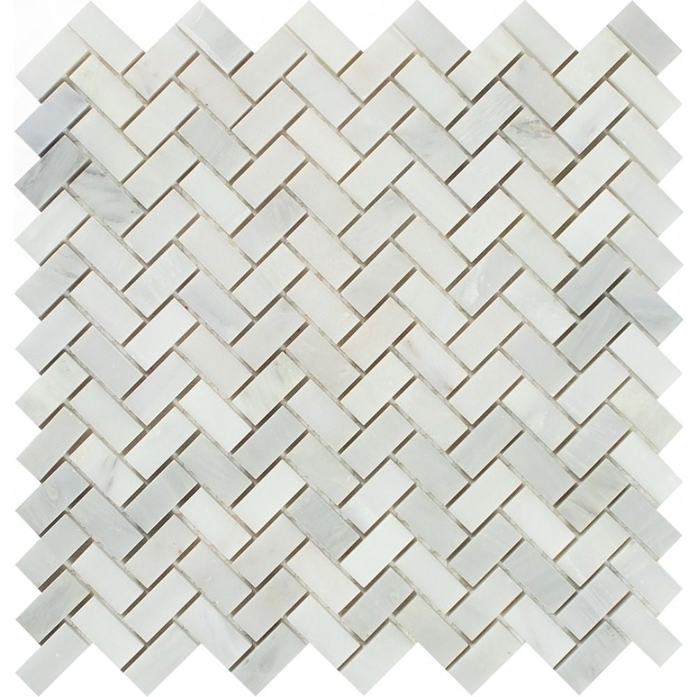 5/8 x 1 1/4 Polished Oriental White Marble Mini Herringbone Mosaic Tile Sample - Tilephile