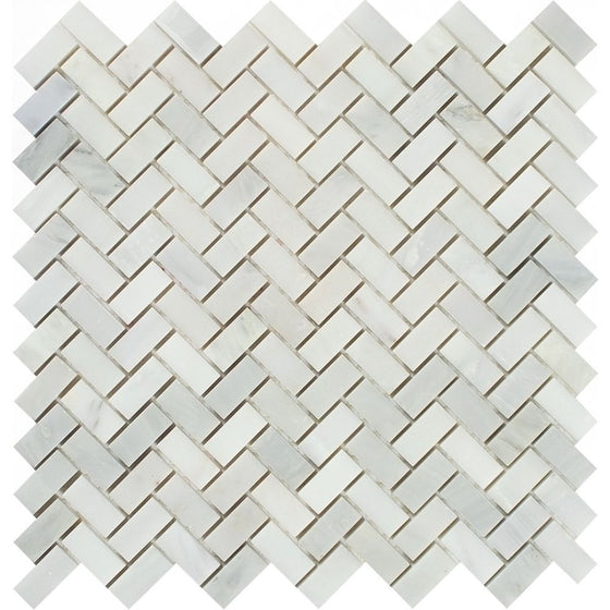 5/8 x 1 1/4 Polished Oriental White Marble Mini Herringbone Mosaic Tile - Tilephile