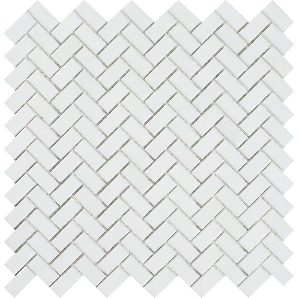 5/8 x 1 1/4 Polished Thassos White Marble Mini Herringbone Mosaic Tile - Tilephile