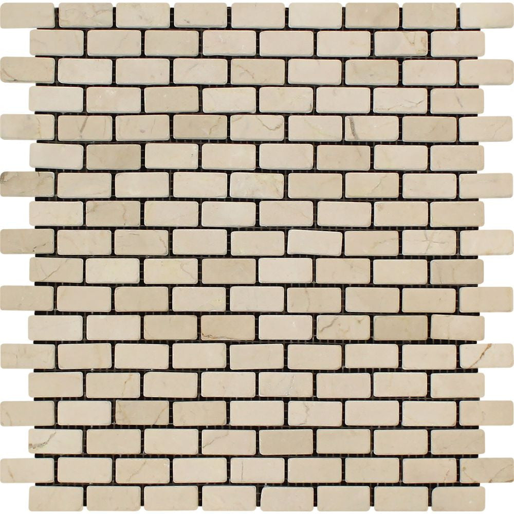 5/8 x 1 1/4 Tumbled Crema Marfil Marble Baby Brick Mosaic Tile Sample - Tilephile