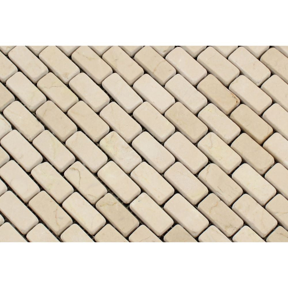 5/8 x 1 1/4 Tumbled Crema Marfil Marble Baby Brick Mosaic Tile - Tilephile