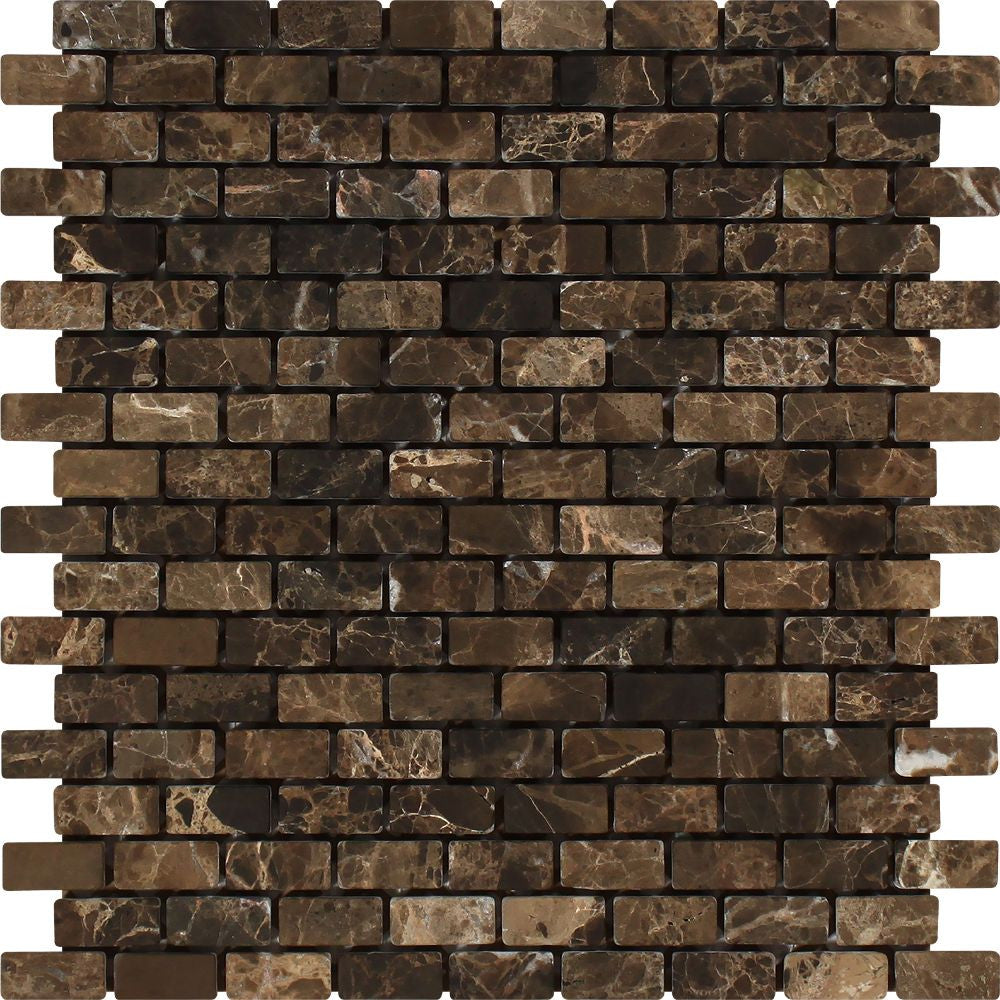 5/8 x 1 1/4 Tumbled Emperador Dark Marble Baby Brick Mosaic Tile - Tilephile