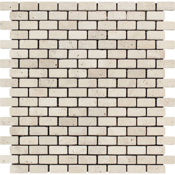 5/8 x 1 1/4 Tumbled Ivory Travertine Baby Brick Mosaic Tile - Tilephile