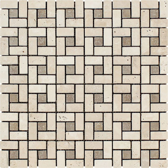 5/8 x 1 1/4 Tumbled Ivory Travertine Mini Pinwheel Mosaic Tile w/ Noce Dots