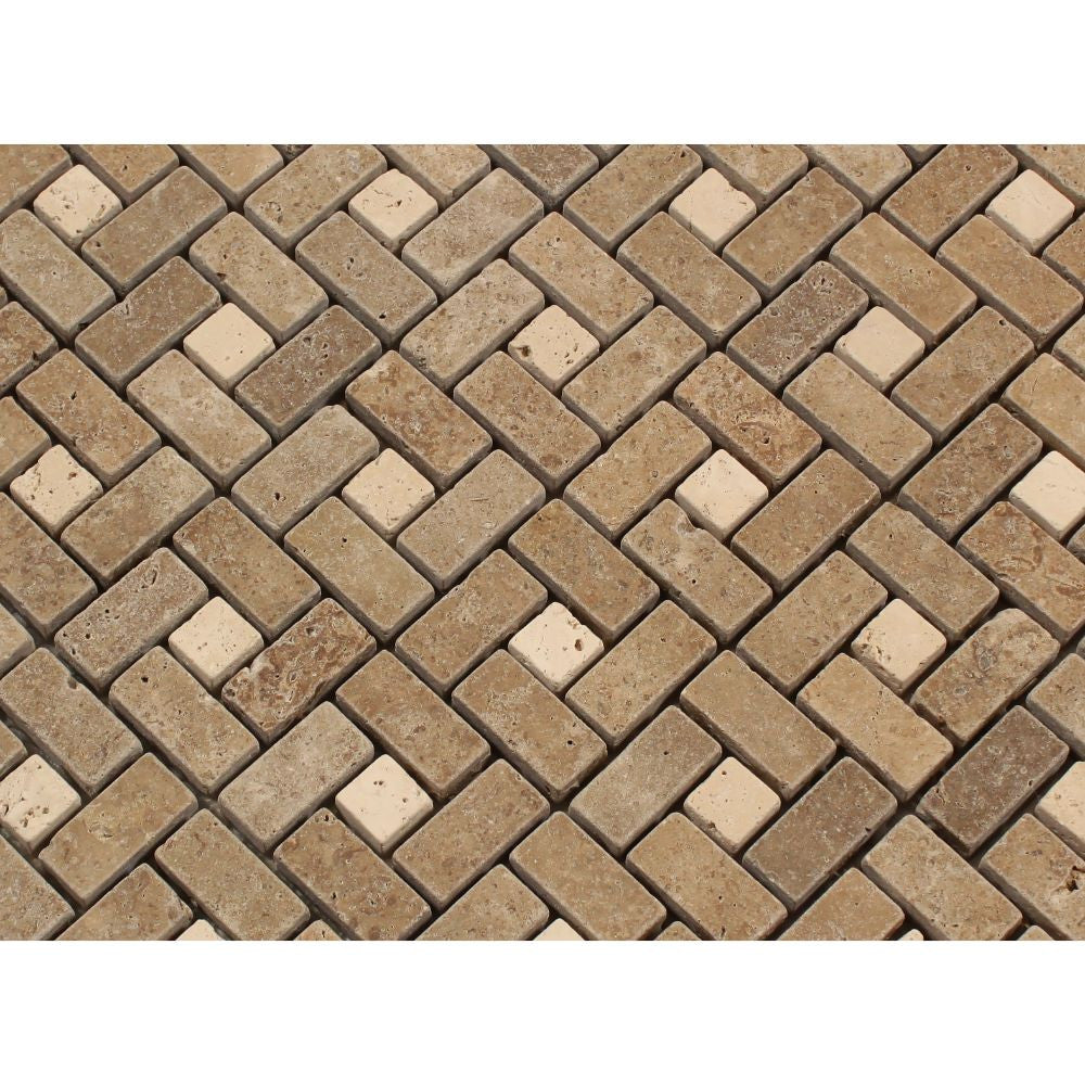 58 X 1 14 Tumbled Noce Travertine Mini Pinwheel Mosaic Tile W