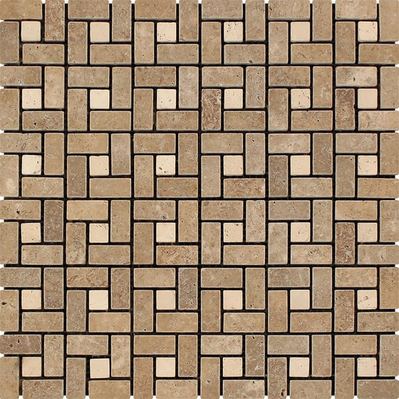 5/8 x 1 1/4 Tumbled Noce Travertine Mini Pinwheel Mosaic Tile w/ Ivory Dots