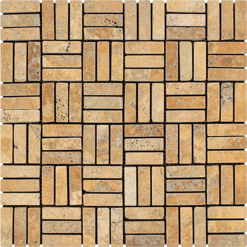 5/8 x 2 Tumbled Gold Travertine Triple-Strip Mosaic Tile Sample - Tilephile
