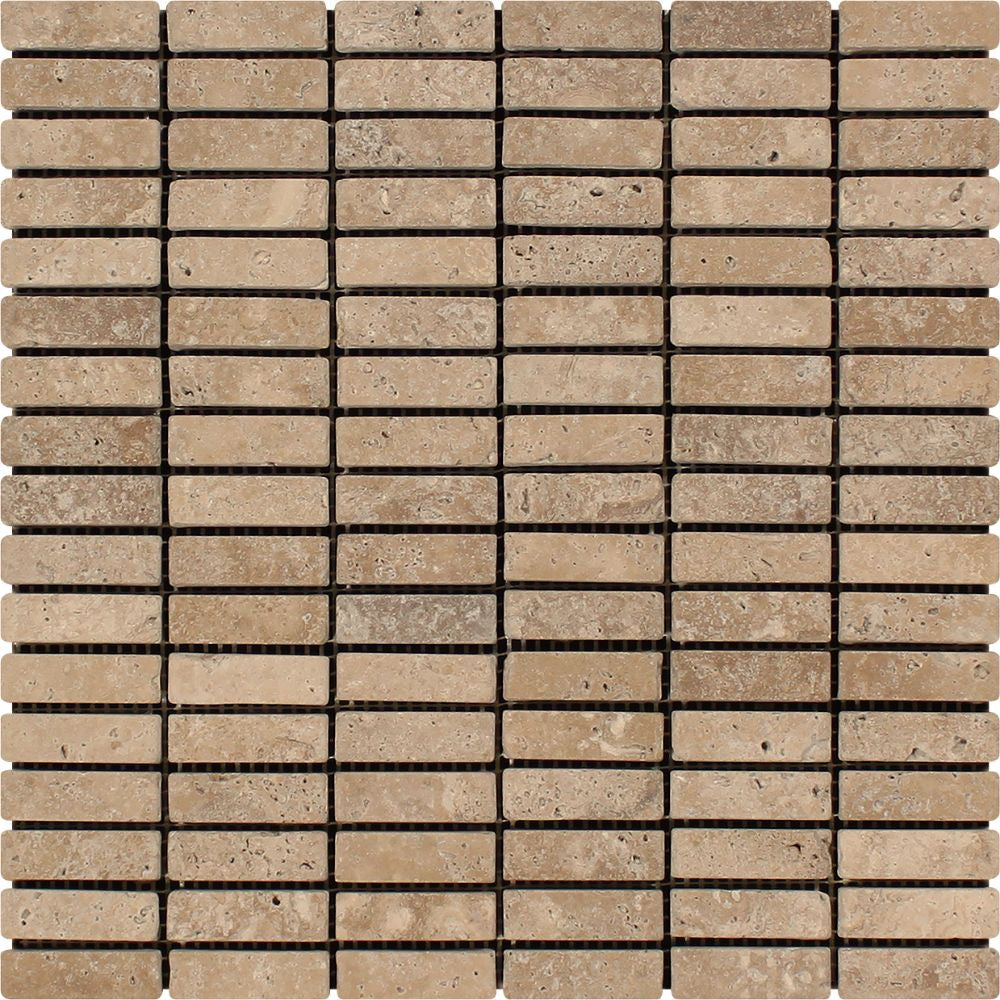 5/8 x 2 Tumbled Noce Travertine Single-Strip Mosaic Tile Sample - Tilephile