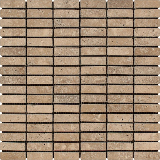 5/8 x 2 Tumbled Noce Travertine Single-Strip Mosaic Tile - Tilephile