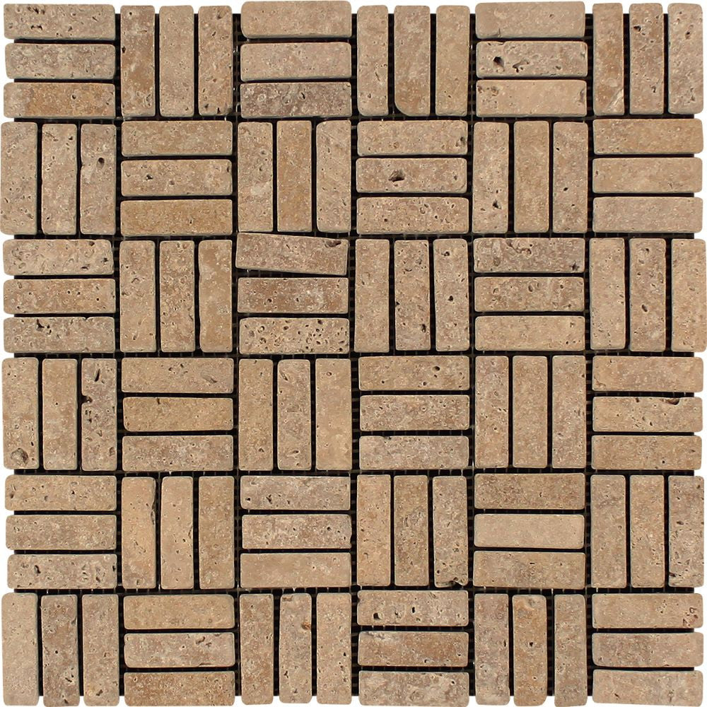 5/8 x 2 Tumbled Noce Travertine Triple-Strip Mosaic Tile Sample - Tilephile