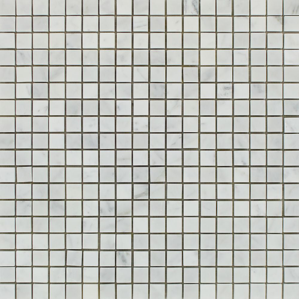 5/8 x 5/8 Honed Bianco Carrara Marble Mosaic Tile - Tilephile