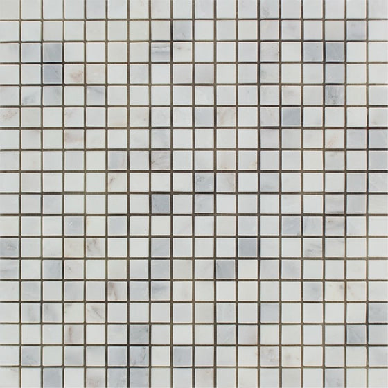 5/8 x 5/8 Honed Oriental White Marble Mosaic Tile