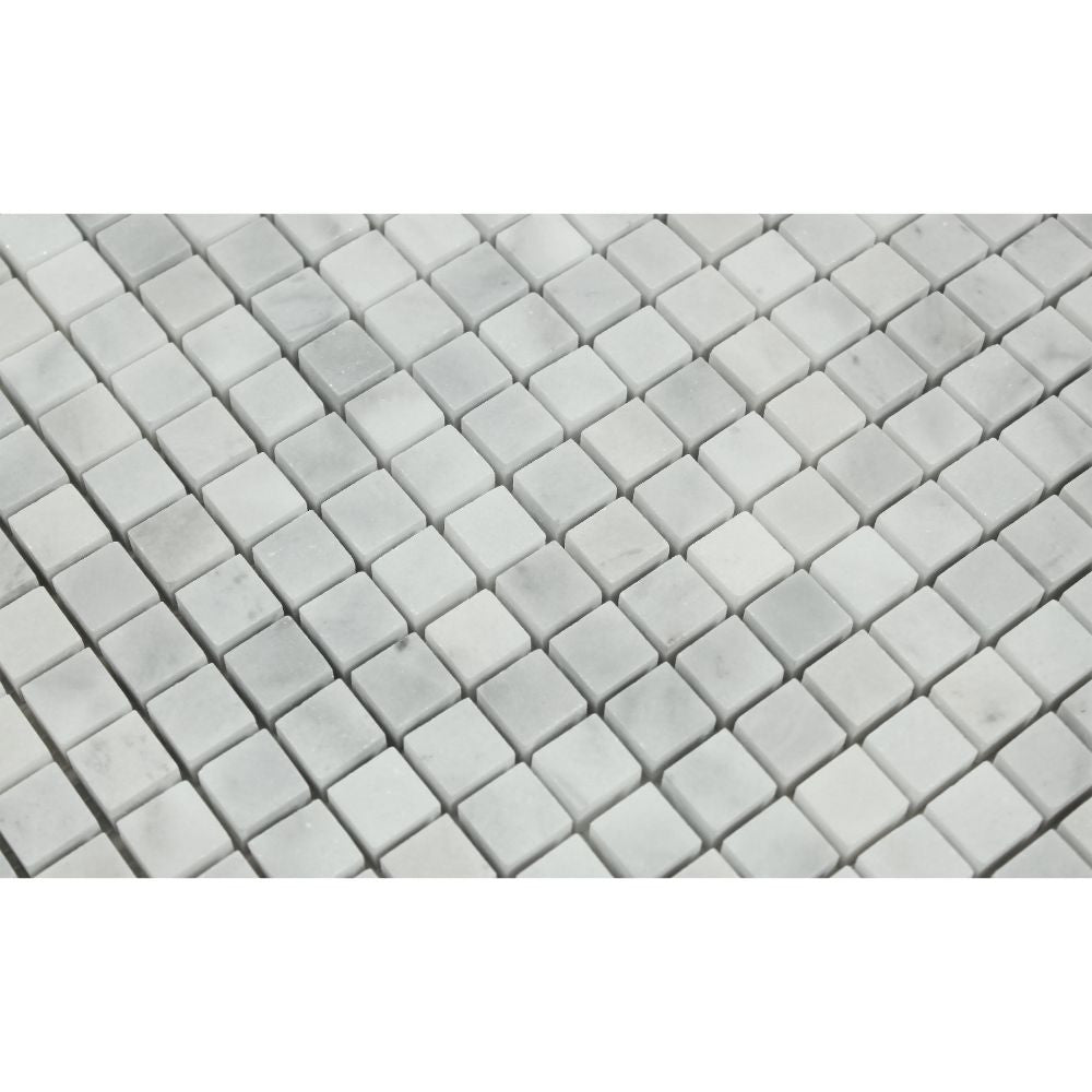 5/8 x 5/8 Polished Bianco Mare Marble Mosaic Tile - Tilephile