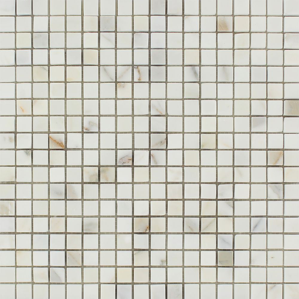 5/8 x 5/8 Polished Calacatta Gold Marble Mosaic Tile Sample - Tilephile