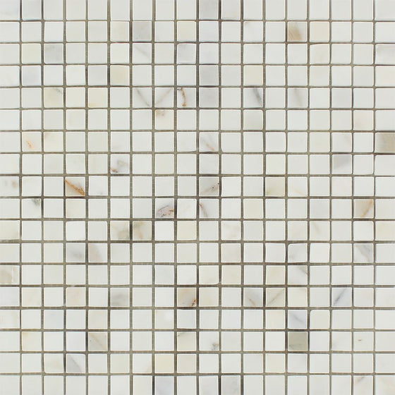 5/8 x 5/8 Polished Calacatta Marble Gold Mosaic Tile