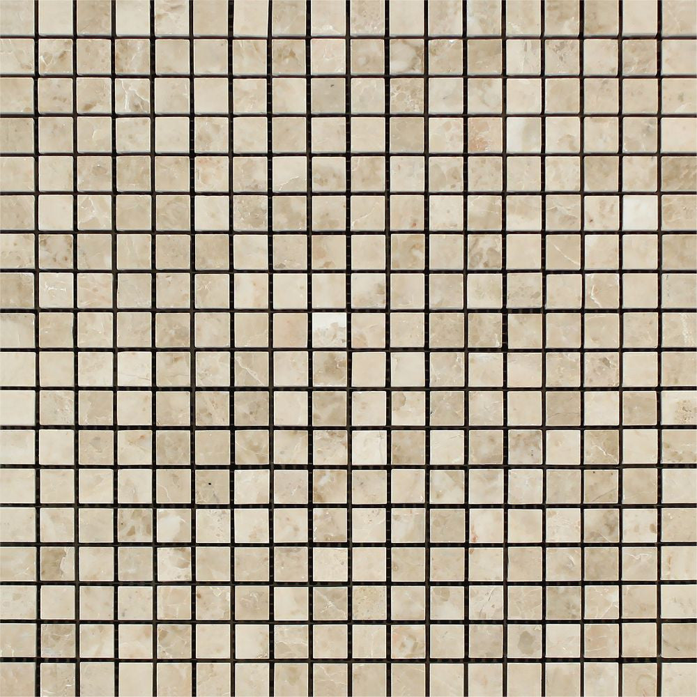 5/8 x 5/8 Polished Cappuccino Marble Mosaic Tile Sample