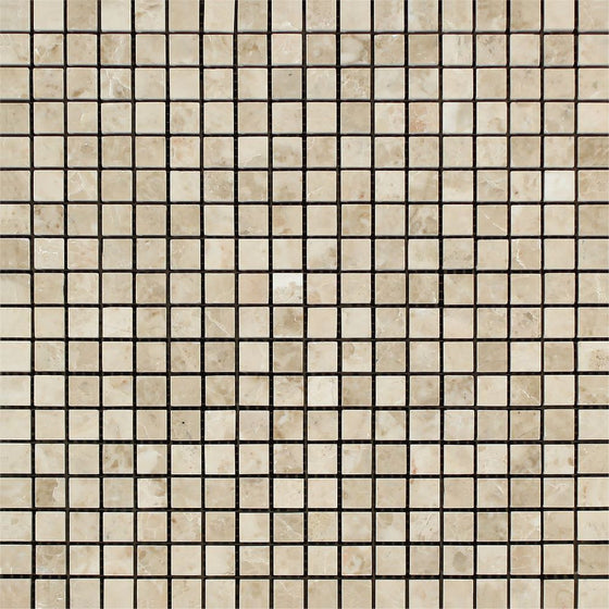 5/8 x 5/8 Polished Cappuccino Marble Mosaic Tile - Tilephile