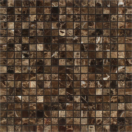 5/8 x 5/8 Polished Emperador Dark Marble Mosaic Tile