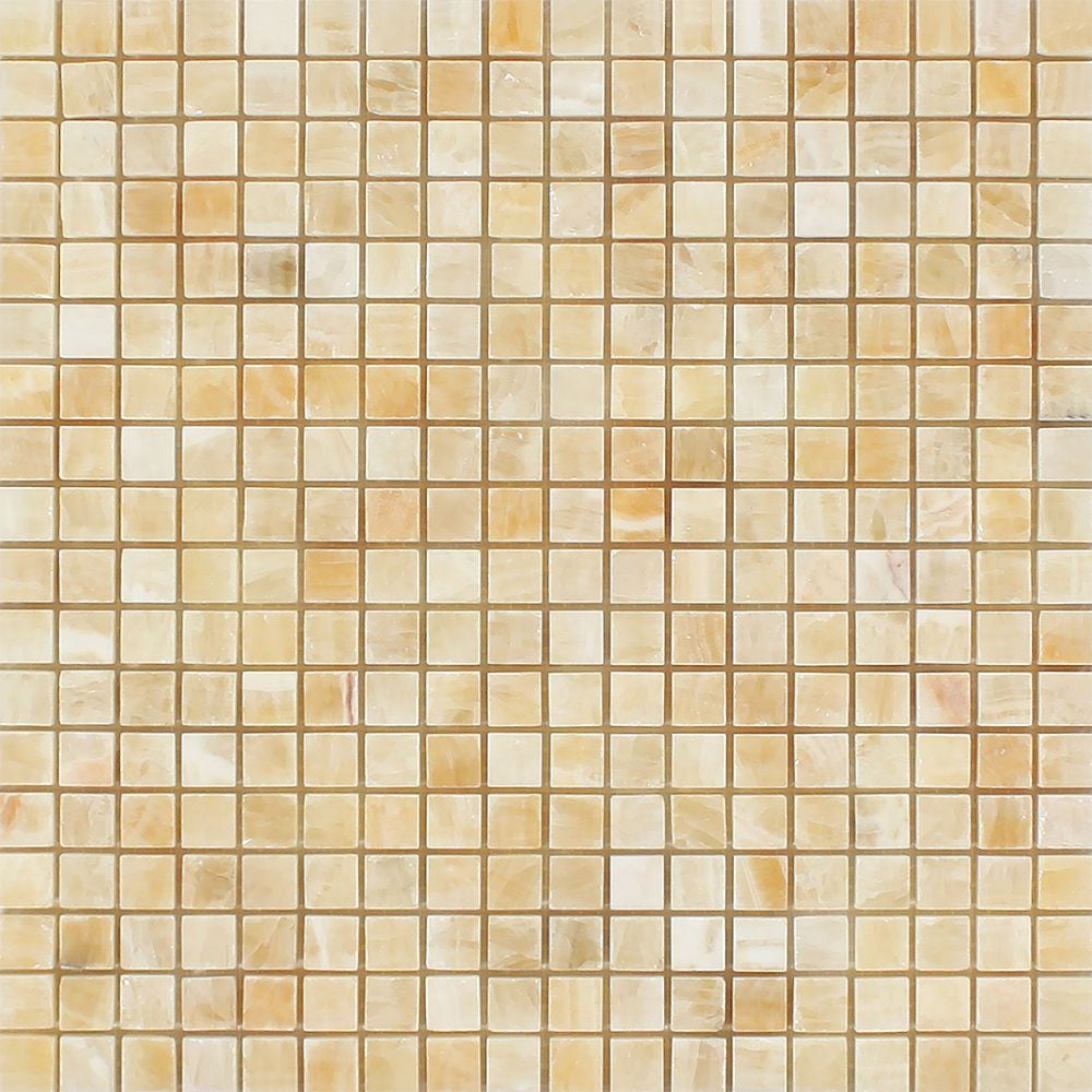 5/8 x 5/8 Polished Honey Onyx Mosaic Tile Sample - Tilephile
