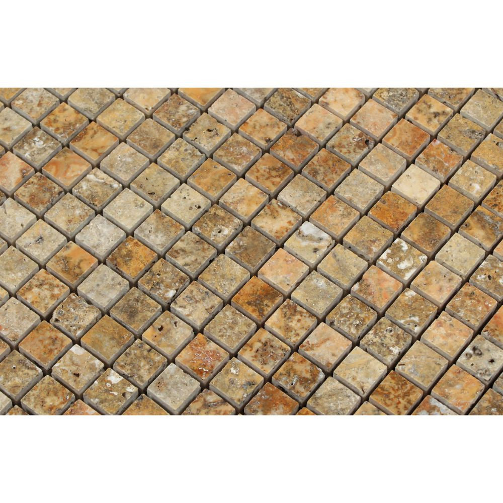 5/8 x 5/8 Polished Scabos Travertine Mosaic Tile - Tilephile