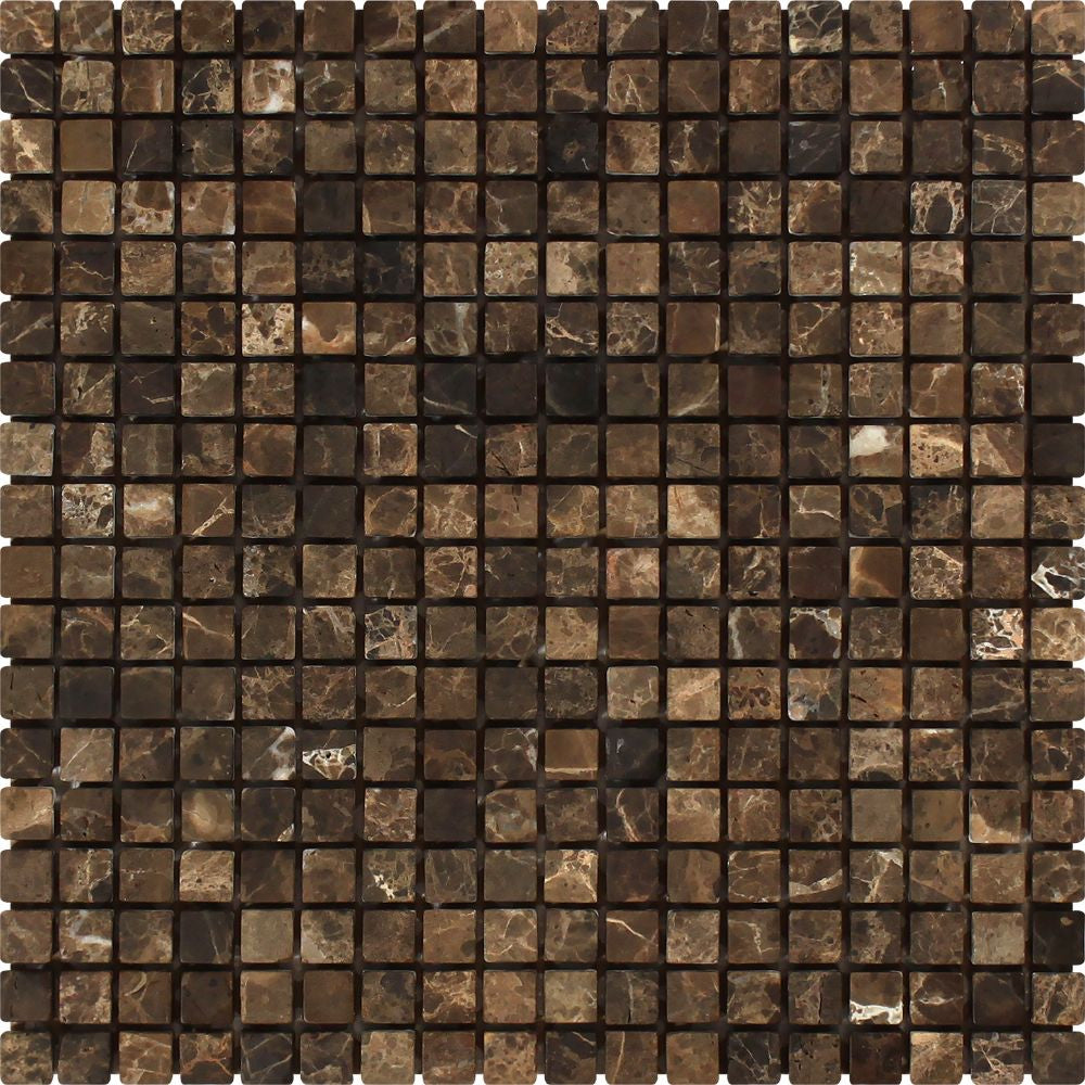 5/8 x 5/8 Tumbled Emperador Dark Marble Mosaic Tile Sample - Tilephile