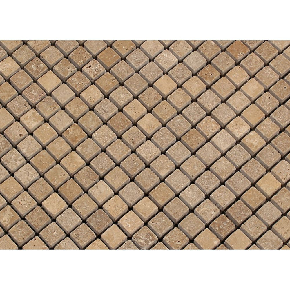 5/8 x 5/8 Tumbled Noce Travertine Mosaic Tile - Tilephile