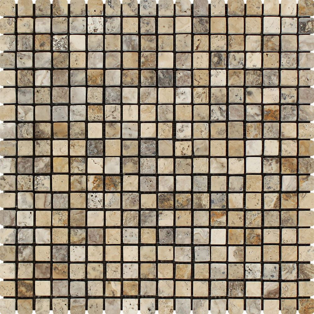 5/8 x 5/8 Tumbled Philadelphia Travertine Mosaic Tile Sample - Tilephile