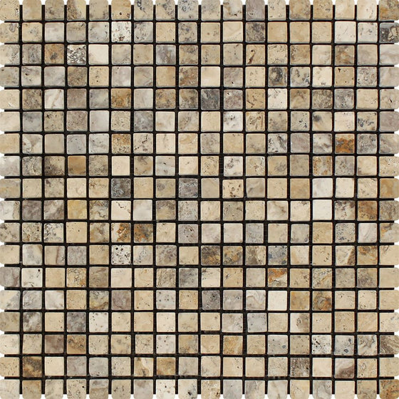 5/8 x 5/8 Tumbled Philadelphia Travertine Mosaic Tile - Tilephile