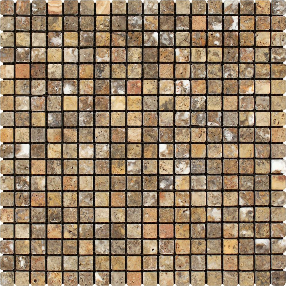 5/8 x 5/8 Tumbled Scabos Travertine Mosaic Tile Sample - Tilephile