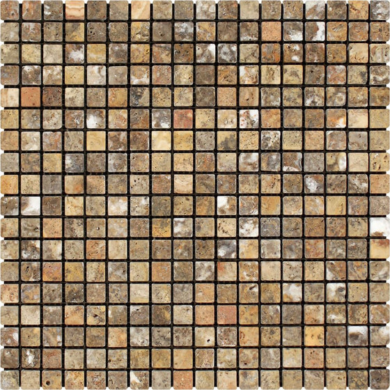 5/8 x 5/8 Tumbled Scabos Travertine Mosaic Tile - Tilephile