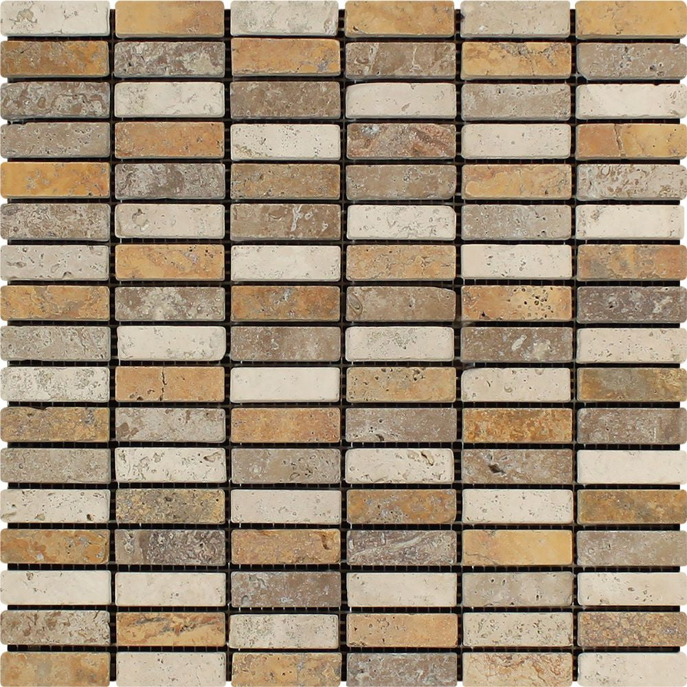 5/8 x 2 Tumbled Mixed Travertine Single-Strip Mosaic Tile (Ivory + Noce + Gold) Sample - Tilephile