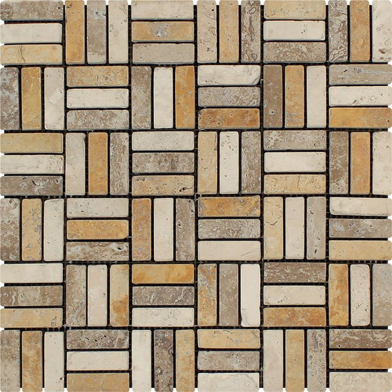5/8 x 2 Tumbled Mixed Travertine Triple-Strip Mosaic Tile (Ivory + Noce + Gold)