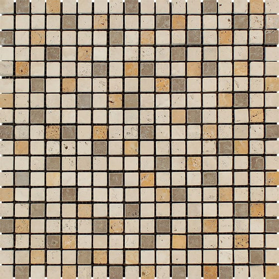 5/8 x 5/8 Tumbled Mixed Travertine Mosaic Tile (Ivory + Noce + Gold) - Tilephile