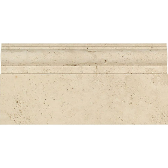 5 x 12 Honed Ivory Travertine Baseboard Trim