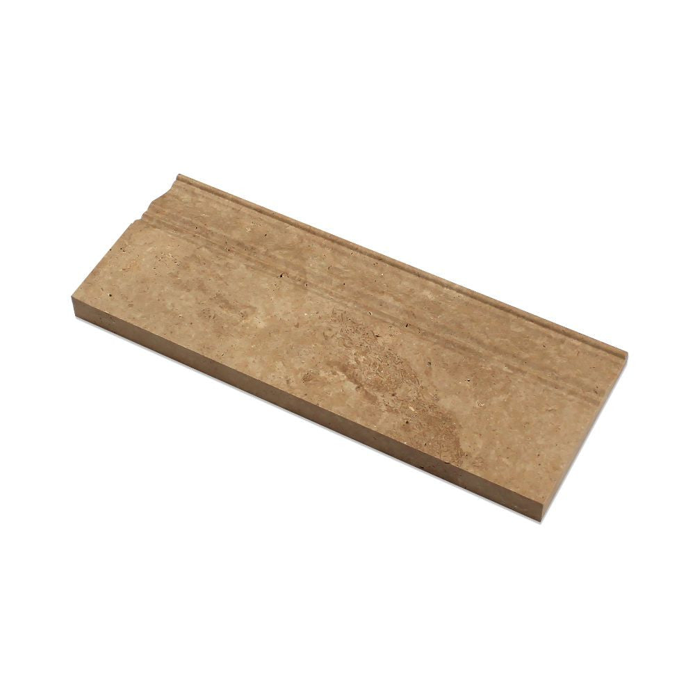 5 x 12 Honed Noce Travertine Baseboard Trim - Tilephile