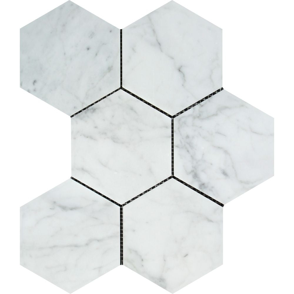 5 x 5 Honed Bianco Carrara Marble Hexagon Mosaic Tile Sample - Tilephile