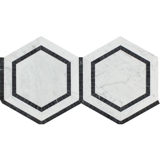 5 x 5 Honed Bianco Carrara Marble Hexagon Mosaic Tile (w/ Black) - Tilephile
