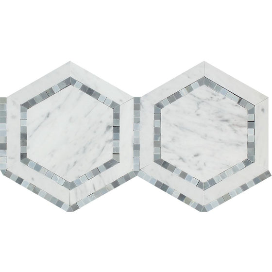 5 x 5 Honed Bianco Carrara Marble Hexagon Mosaic Tile (w/ Blue-Gray) - Tilephile