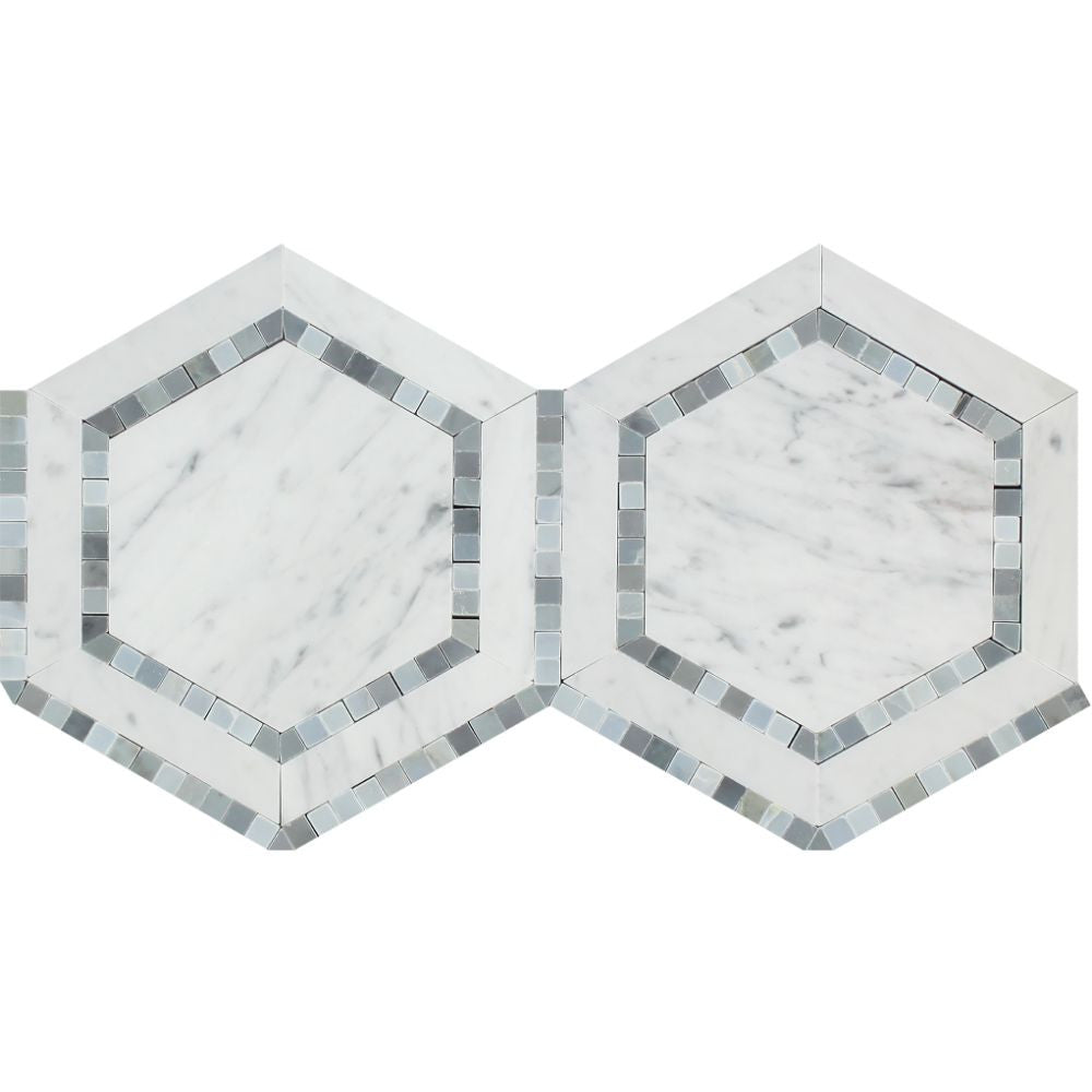 5 x 5 Polished Bianco Carrara Marble Hexagon Mosaic Tile (w/ Blue-Gray) Sample - Tilephile