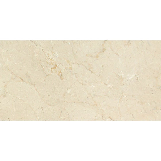 6 x 12 Polished Crema Marfil Marble Tile - Tilephile