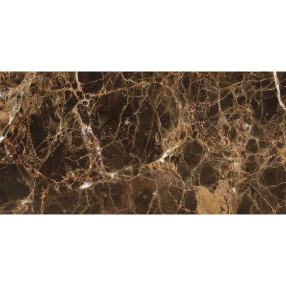 6 x 12  Polished Emperador Dark Marble Tile