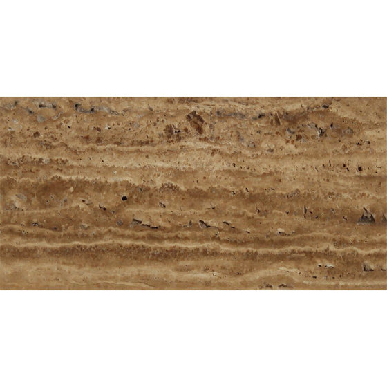6 x 12 Unfilled, Brushed Noce Exotic (Vein-Cut) Travertine Tile