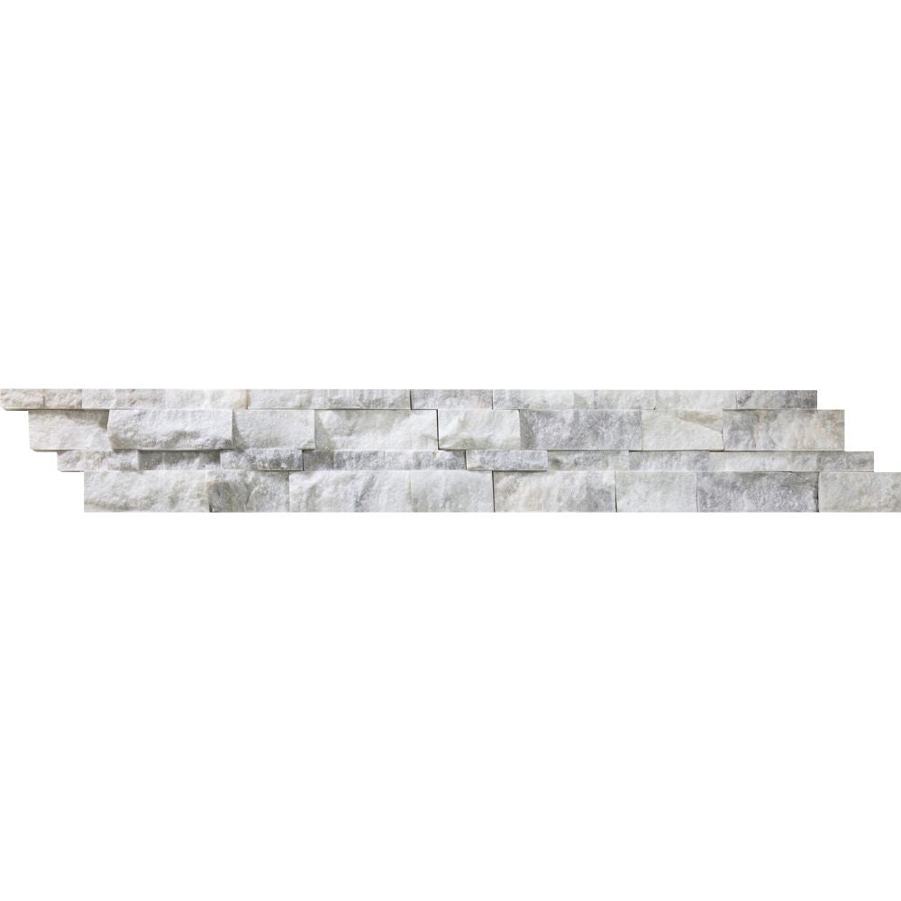 6 x 24 Split-faced Bianco Mare Marble Ledger Panel Sample - Tilephile