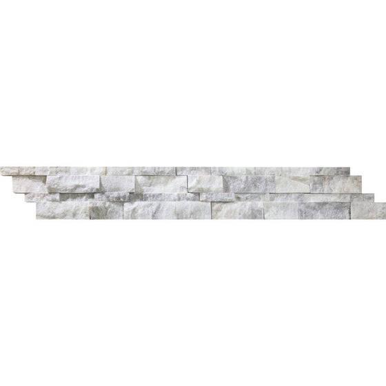 6 x 24 Split-faced Bianco Mare Marble Ledger Panel - Tilephile