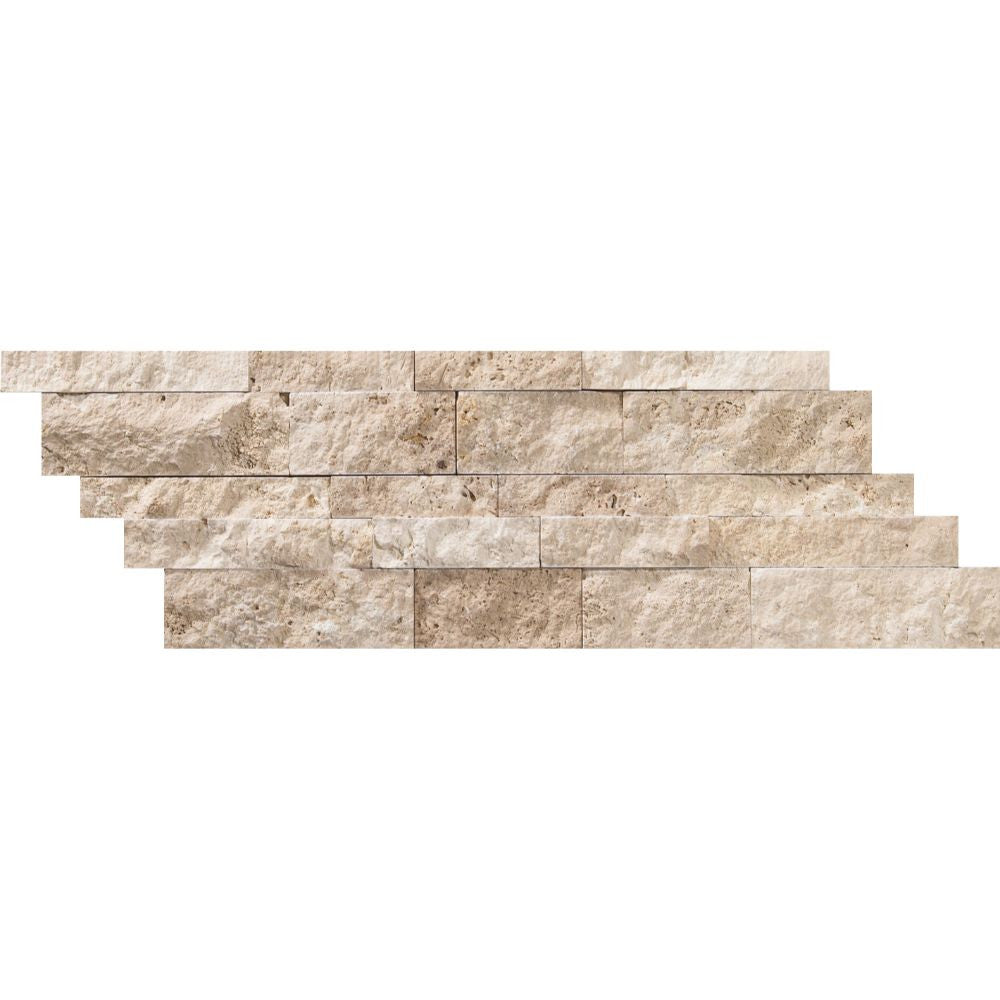 6 x 24 Split-faced Ivory Travertine Ledger Panel Sample - Tilephile